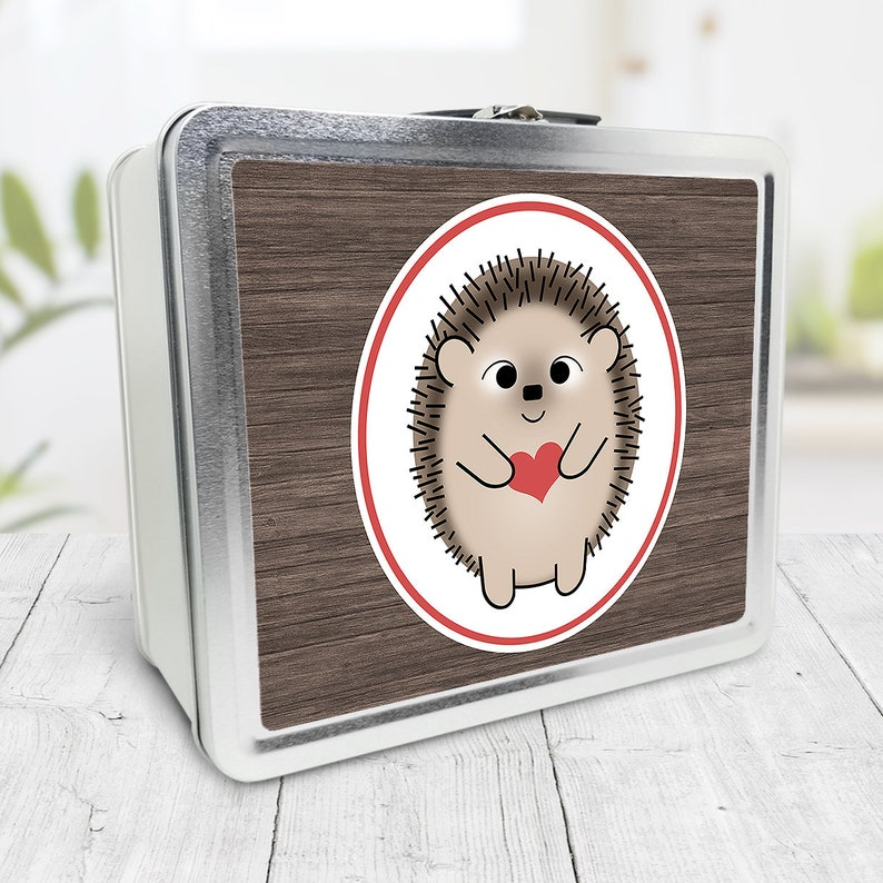 Cute Hedgehog Lunch Box rustic wood red heart  Tin School image 0