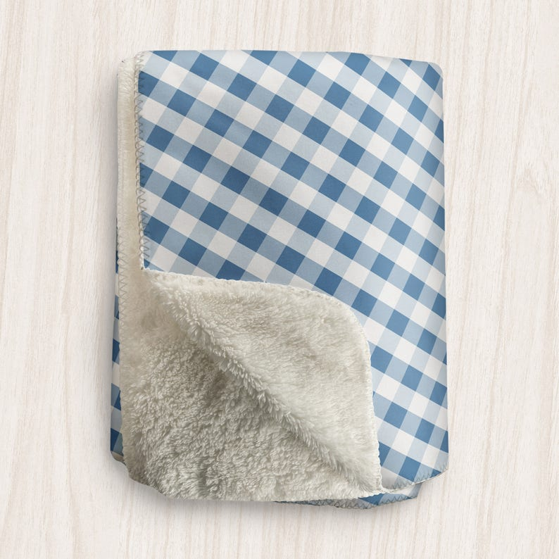 Blue Gingham Blanket White Blue Gingham Pattern  Sherpa image 0