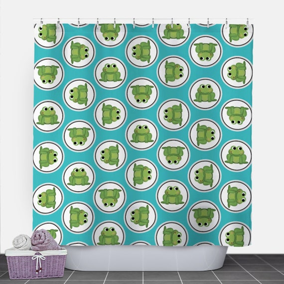 Frog Shower Curtain Turquoise Green Pattern 71x74