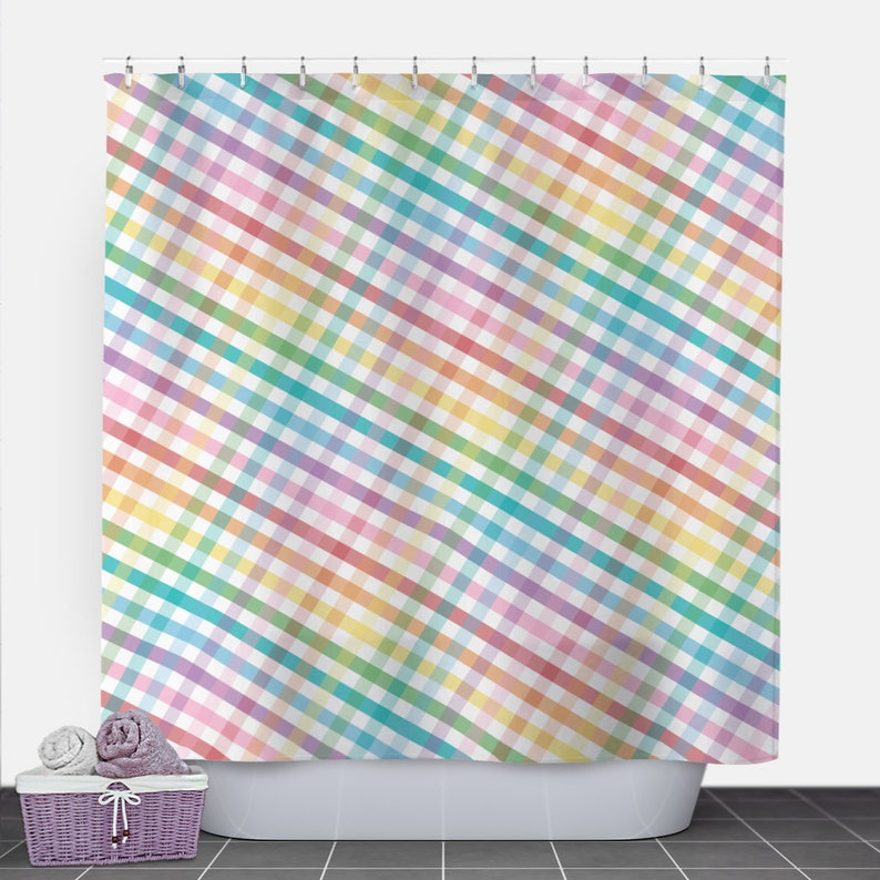 Rainbow Gingham Shower Curtain  Pattern White Colorful image 0