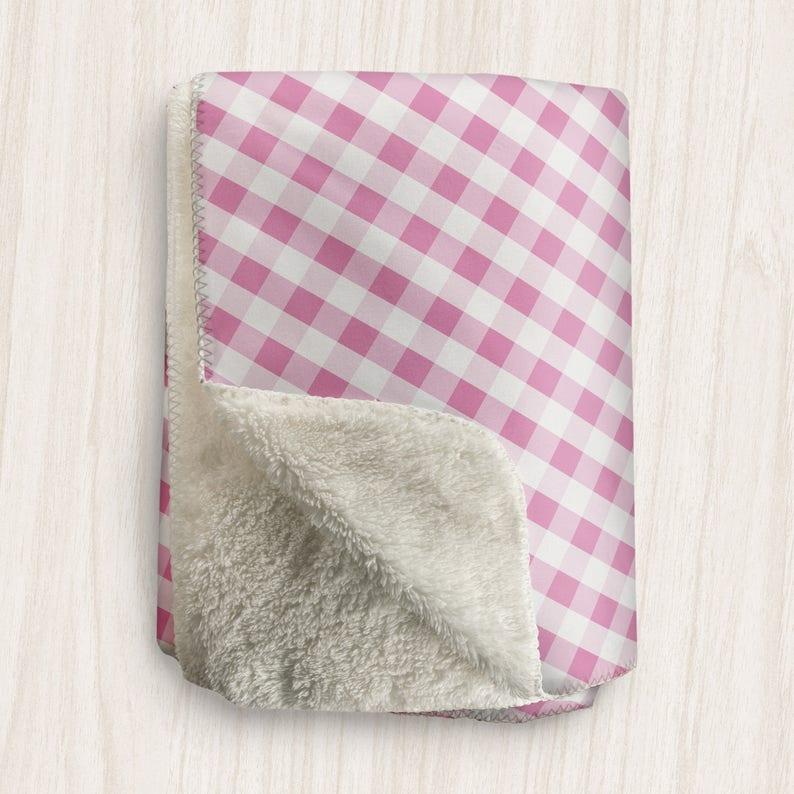Pink Gingham Blanket White Pink Gingham Pattern  Sherpa image 0