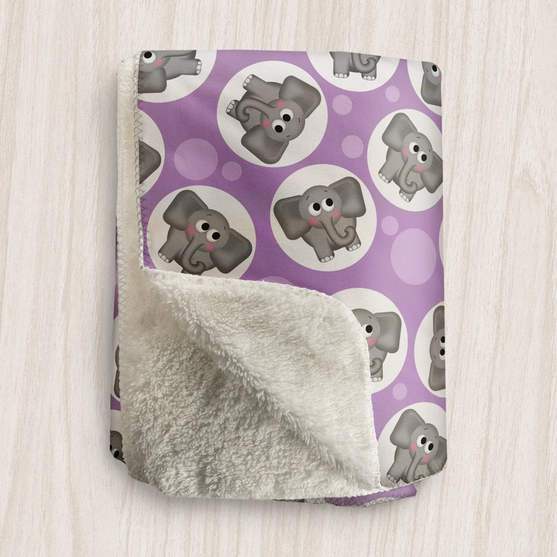 Purple Elephant Blanket Cute Gray Elephant Pattern over image 0