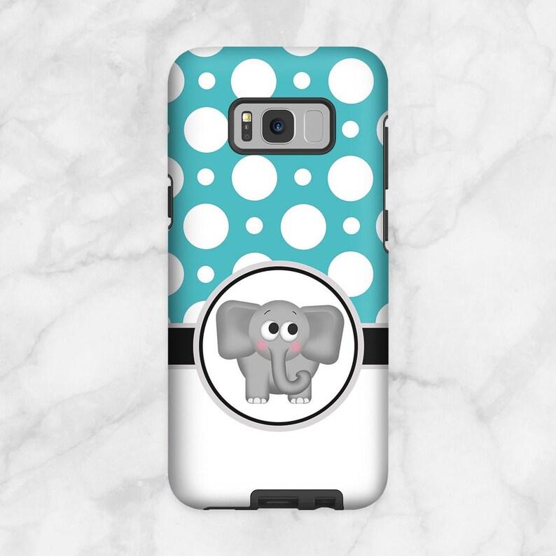 Cute Elephant Samsung Galaxy Tough Case  Turquoise Polka Dot image 0