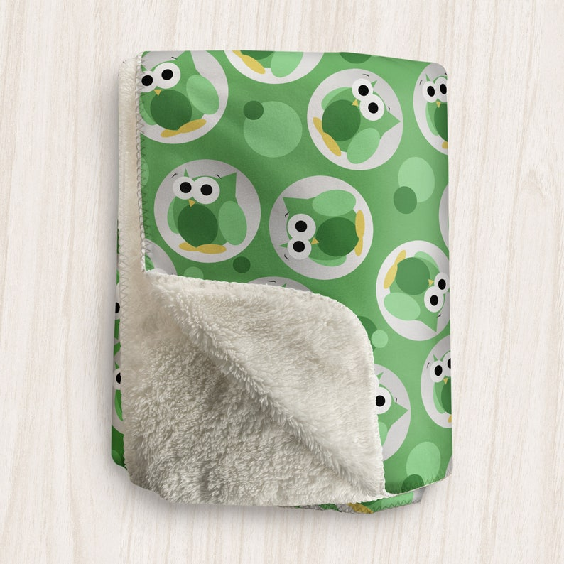 Green Owl Blanket Funny Cute Green Owl Pattern  Sherpa image 0