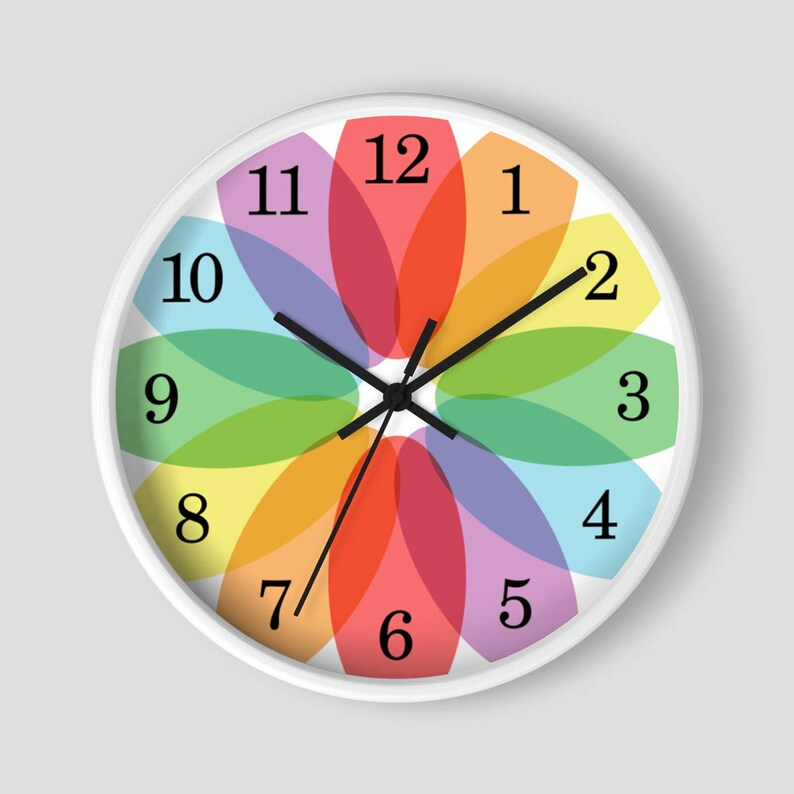 Color Lover's Wall Clock  Rainbow Flower design with image 0