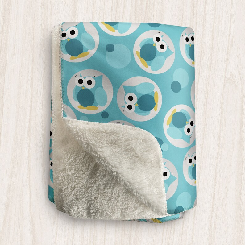 Turquoise Owl Blanket Funny Cute Turquoise Owl Pattern  image 0