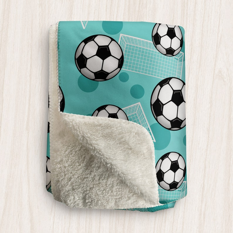 Teal Soccer Blanket Soccer Ball and Goal Pattern on Teal  image 0