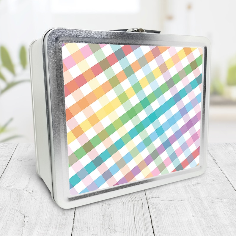 Rainbow Gingham Lunch Box colorful check pattern with a image 0