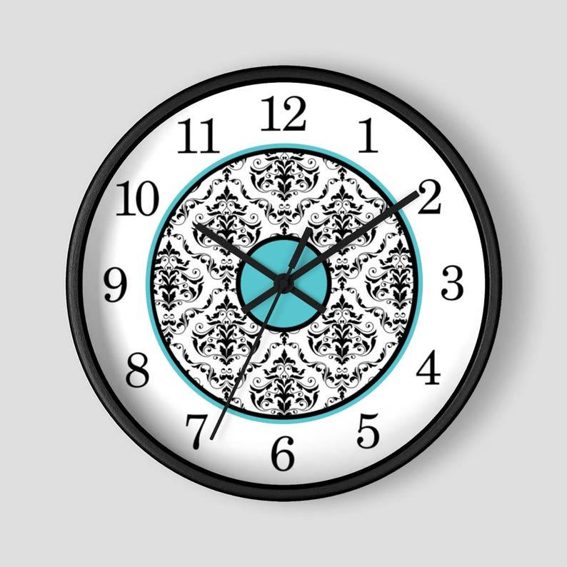 Turquoise Damask Wall Clock  Black White Damask with image 0