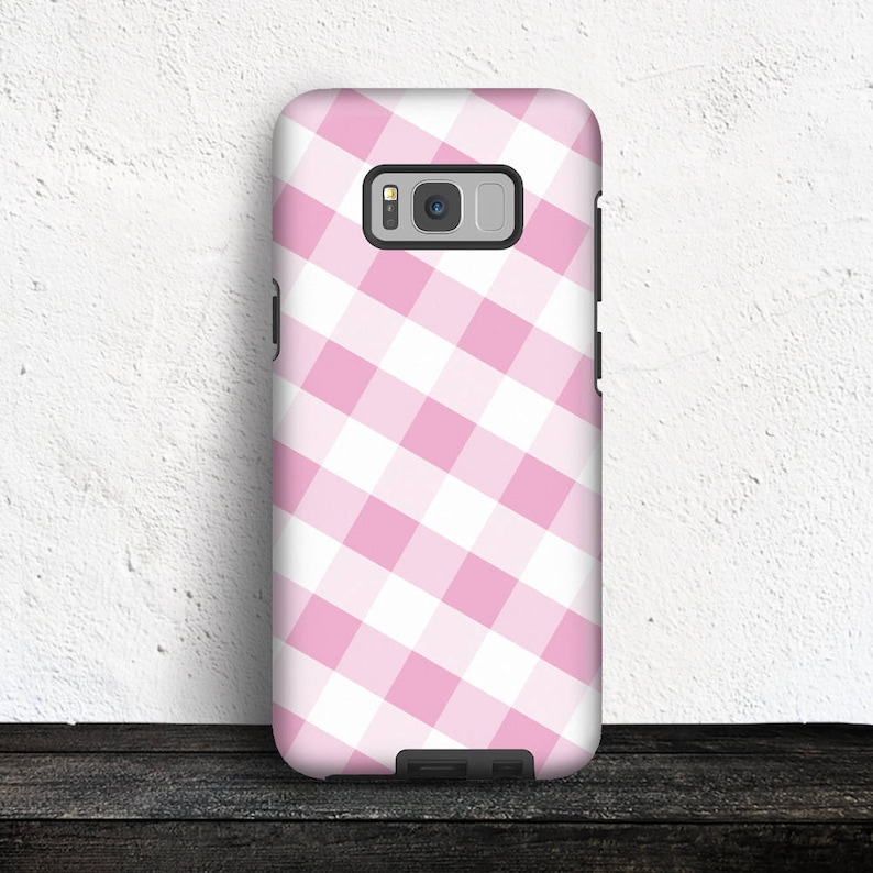 Pink Gingham Samsung Galaxy Tough Case  Pattern with Pink and image 0