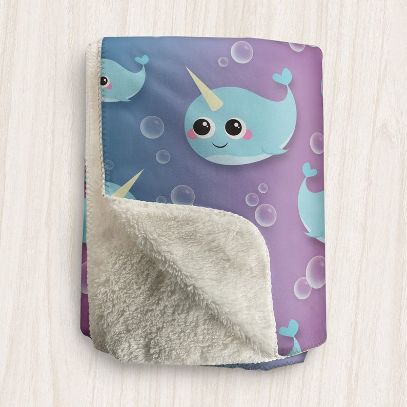 Cute Narwhal Blanket Happy Narwhal and Bubbles Pattern With image 0