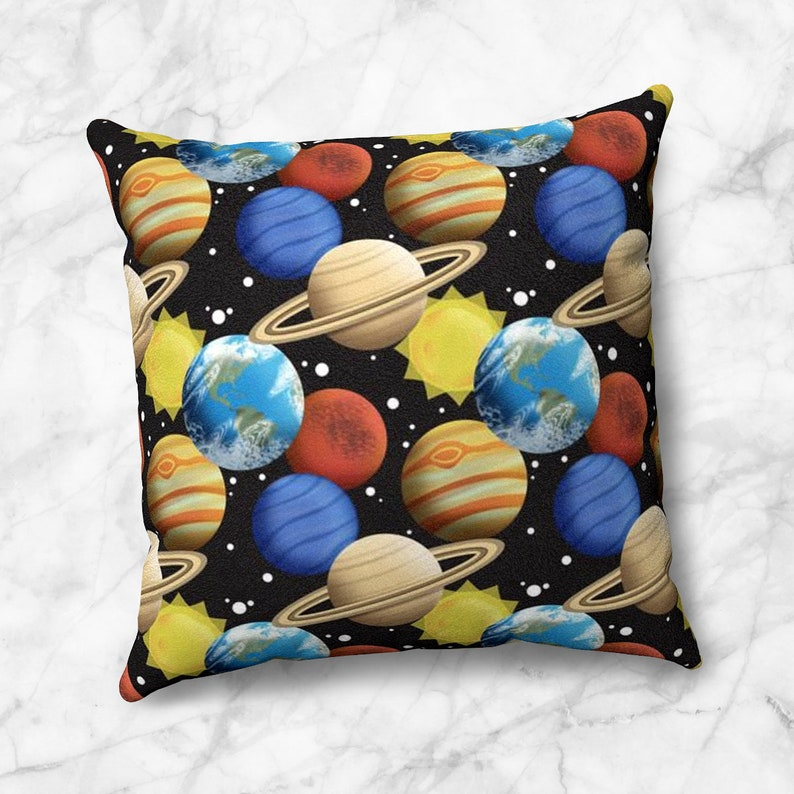 Space Planets Throw Pillow pattern with planets sun and stars image 0