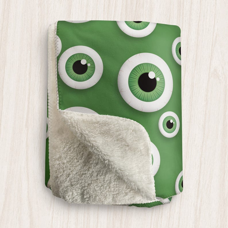 Green Eyeball Blanket Fun Pattern with Green Eyeballs over image 0
