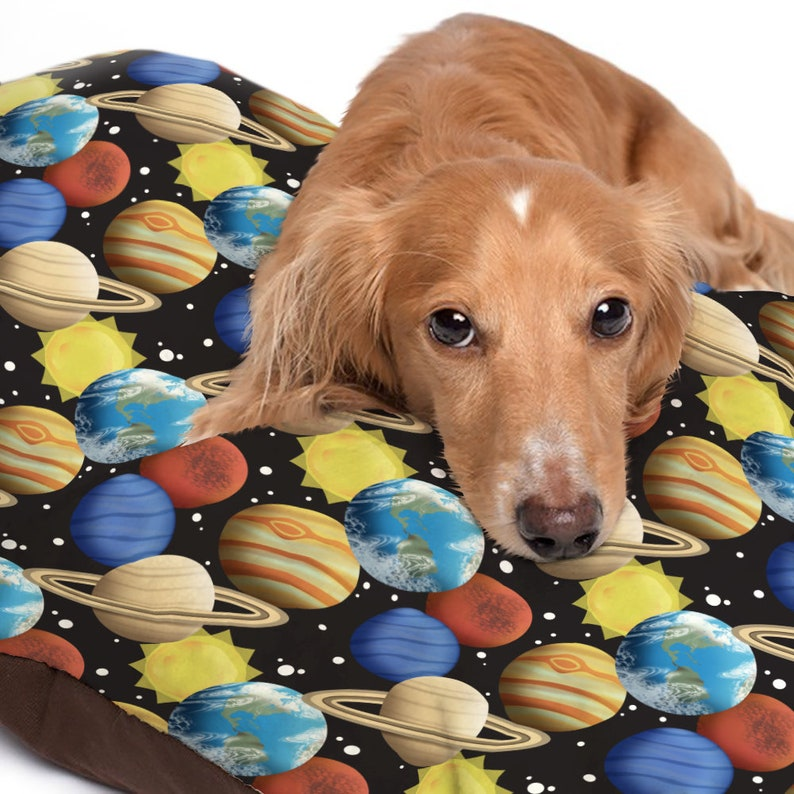 Space Planets Pet Bed pattern with planets sun and stars over image 0
