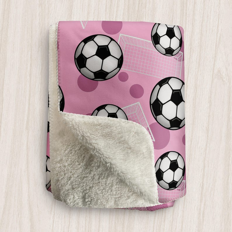 Pink Soccer Blanket Soccer Ball and Goal Pattern on Pink  image 0
