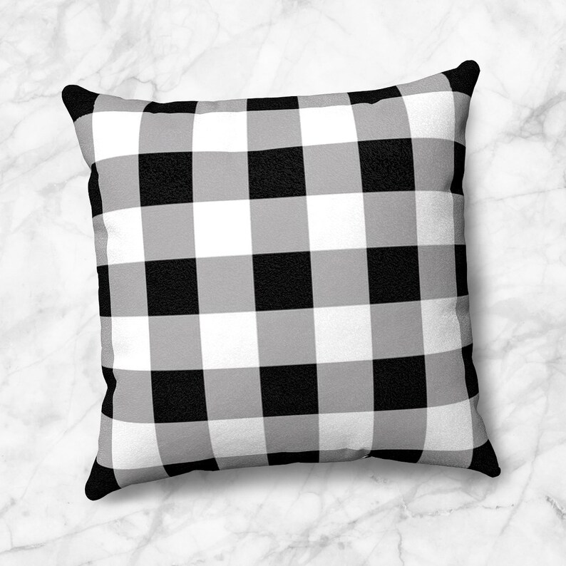Buffalo Plaid Throw Pillow black white check pattern  4 Size image 0