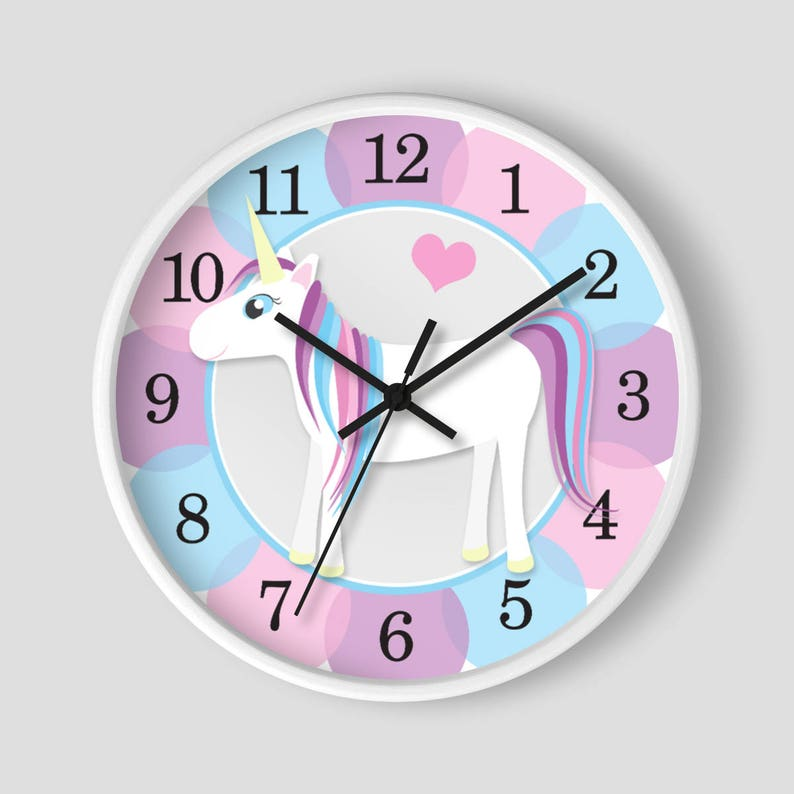 Happy Unicorn Wall Clock  Cute Unicorn With Blue Pink And image 0