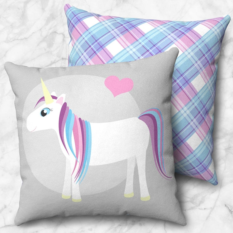 Happy Unicorn Throw Pillow  Cute Blue Pink Purple over Gray image 0