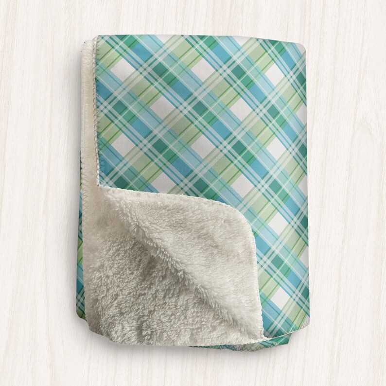 Green Blue Plaid Blanket Cool Colors Plaid Pattern Soft image 0