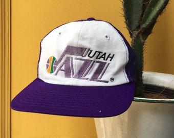 buy online 86962 f9716 90s UTAH JAZZ Trucker Snapback Cap