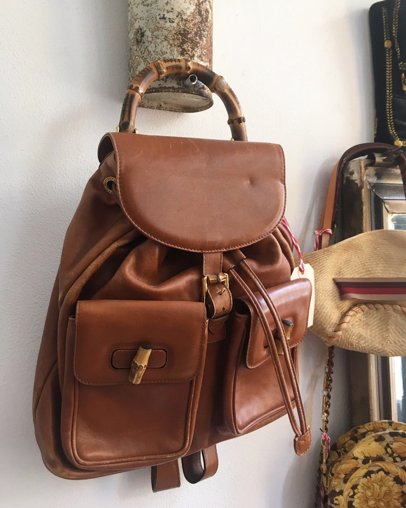 357722997be Vintage GUCCI Bamboo Backpack