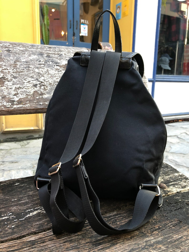 90s MOSCHINO Letter Nylon with Leather Trim Backpack