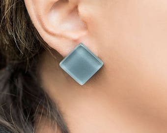 Grey stud earrings, Modern earrings, Minimal earrings, Fashion earrings, Large earrings, Cute earrings, Glass earrings, delicate earrings