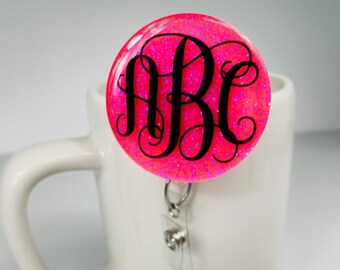 Monogrammed Badge Reel - Name Badge Reel - Badge Reel - Nursing badge reel - Badge Reel