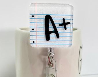 "2"" Notebook Paper Badge Reel - Teacher Gift - Teacher Badge Reel - Custom Badge Reel"
