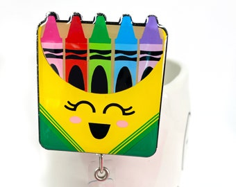 """2"""" Crayons Badge Reel - Teacher Gift - Teacher Badge Reel - Custom Badge Reel"""