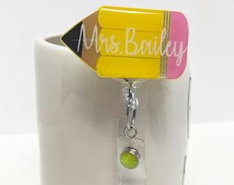 "2"" Pencil Badge Reel - Teacher Gift - Teacher Badge Reel - Custom Badge Reel"