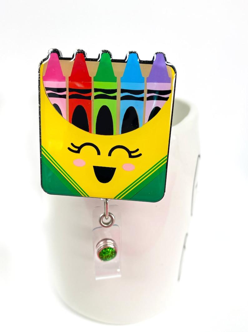 2 Crayons Badge Reel  Teacher Gift  Teacher Badge Reel image 0