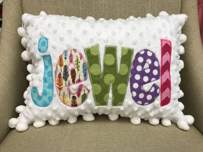 Appliqued Name Pillow Cover  Personalized Pillow  image 1