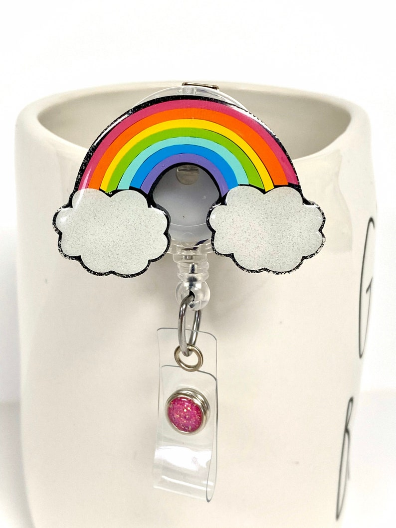 2 Rainbow  Badge Reel  Name Badge Reel  Badge Reel  image 1