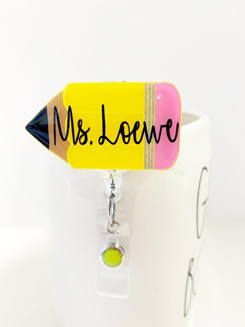 2 Pencil Badge Reel  Teacher Gift  Teacher Badge Reel image 0