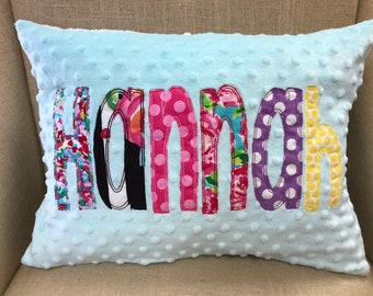 Appliqued Name Pillow Cover - Personalized Pillow