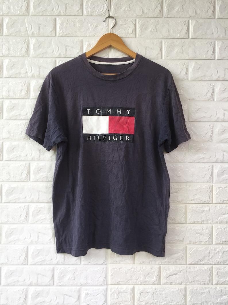 5c34783f52bd Vintage Tommy Hilfiger Shirt Sz M Big Logo Spell Out Hip Hop | Etsy
