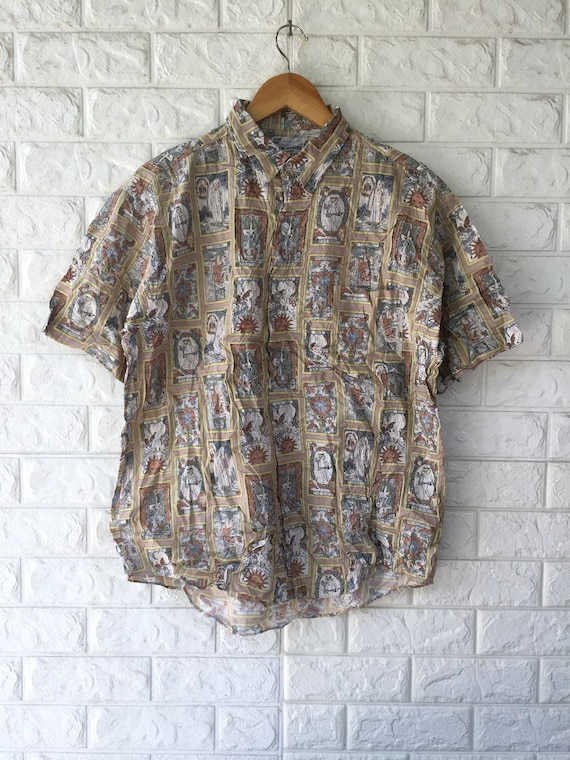 VTG Hook Angel Button Ups All Overprint Sz L