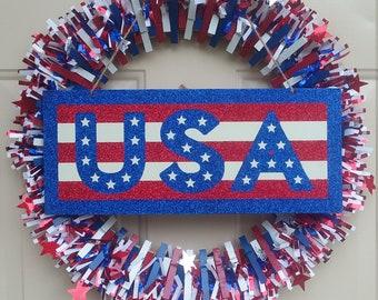 Patriotic Clothespin Wreath w/Sign