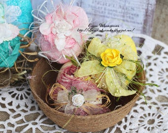 Easter Home Decor.Decorative Easter Eggs.Easter Gifts.Easter Decorations.  Wooden Eggs.yellow Pale Pink