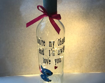 light up wine bottle stitch lamp youre my ohana and ill always love you quote best friend gift stitch christmas gift secret santa gif