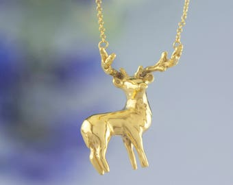 Gold Stag Elk Deer Necklace. Hand Carved Design | Plated Sterling Silver | Personalised Animal Pendant by Rosalind Elunyd Jewellery