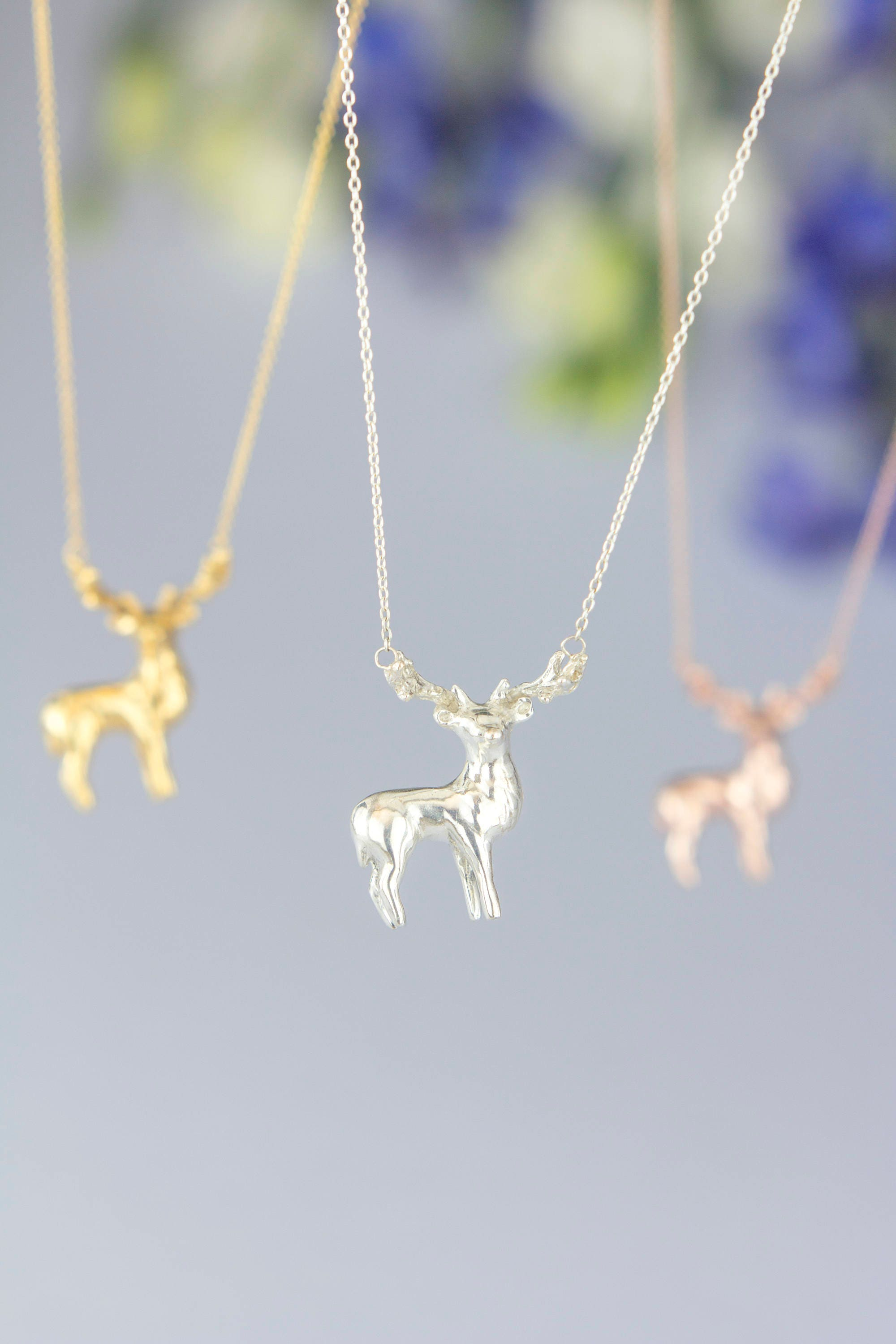 f3b90c60fd4b2 Stag Elk Deer Necklace. Hand Carved Design | Sterling Silver Gold Rose Gold  | Personalised Animal Pendant by Rosalind Elunyd Jewellery
