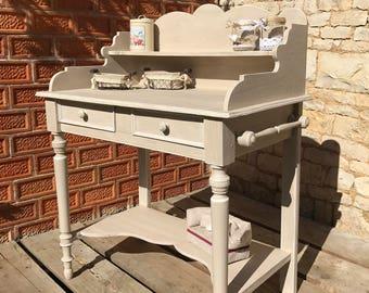 meuble coiffeuse deux tiroirs patinée à l'ancienne couleur lin