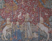 Vintage BELGIAN TAPESTRY - The Lady and the Unicorn Woven Panel depicting Romantic 18th Century Scene - Cushion Size - Wall Hanging.