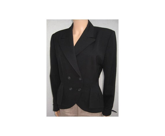 Vintage JIL SANDER black wool jacket Made in Italy Elegant lined designer jacket double breasted button by Jil Sander Size EU42 US10 UK12