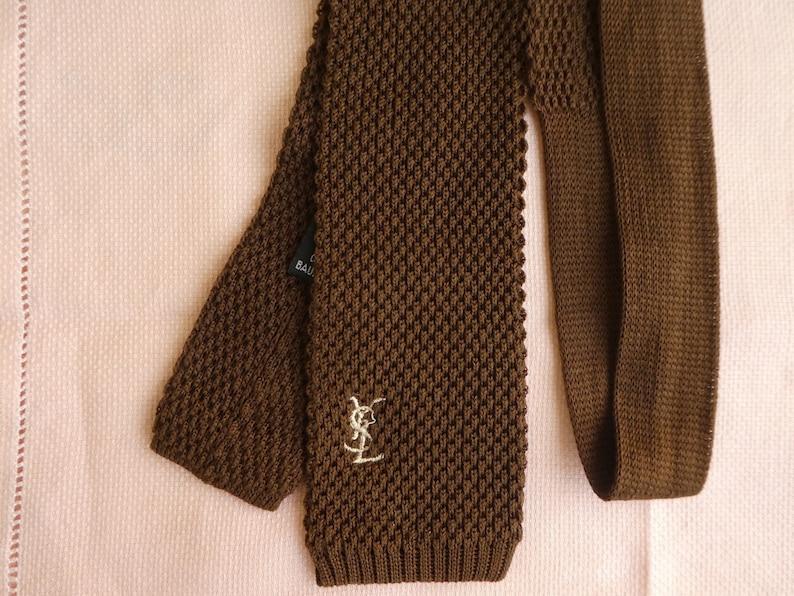 ba96ad5918303b YSL Brown Knit Tie Vintage Yves SAINT LAURENT Narrow Square   Etsy