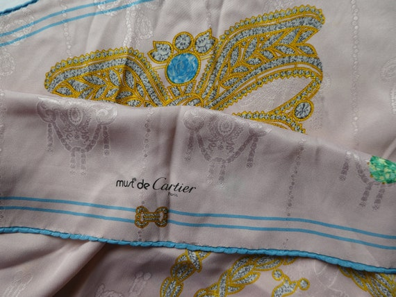 grande remise magasin d'usine pas cher Authentic MUST de CARTIER - Silk Scarf, Jewels Motif, Hand Rolled Hems,  Foulard Soie Carré. Cartier, Paris, France. French Couture.