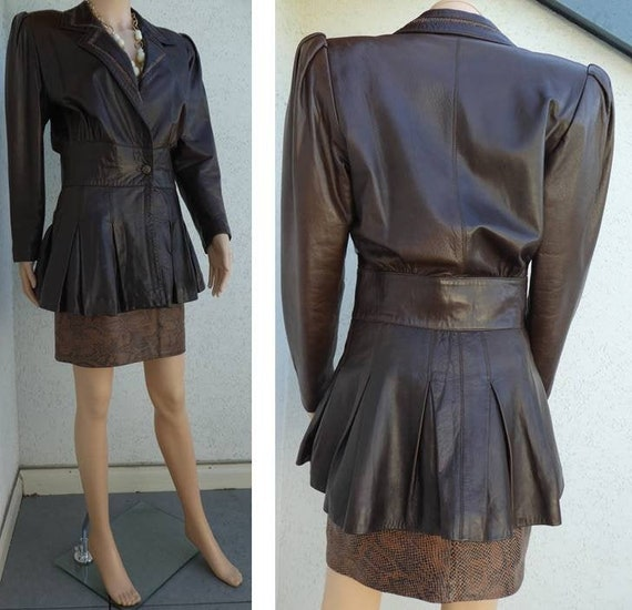 Fantastic 1980s Brown LEATHER SKIRT SUIT- Lined Ja