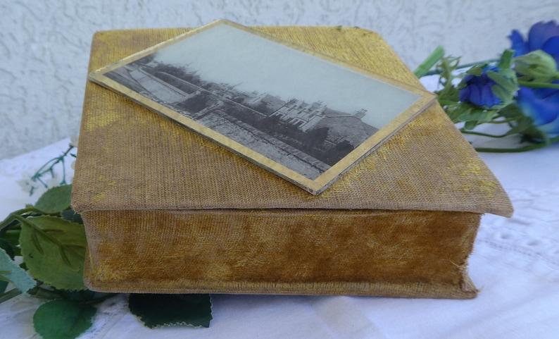 Antique Scottish VELVET JEWELLERY BOX with Mounted Black /& White photo \u2013 Mustard Yellow Diamond Shape Trinket Keepsake Box Shabby Chic.